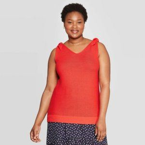 NWT Ava & Viv Red Shoulder Tie Sweater Tank Tunic